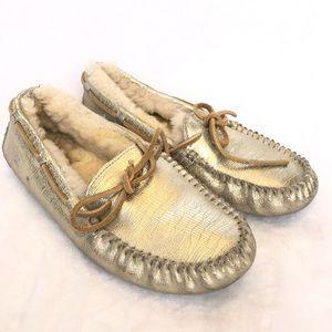 UGG Dakota Moccasins Metallic Gold Slippers 6